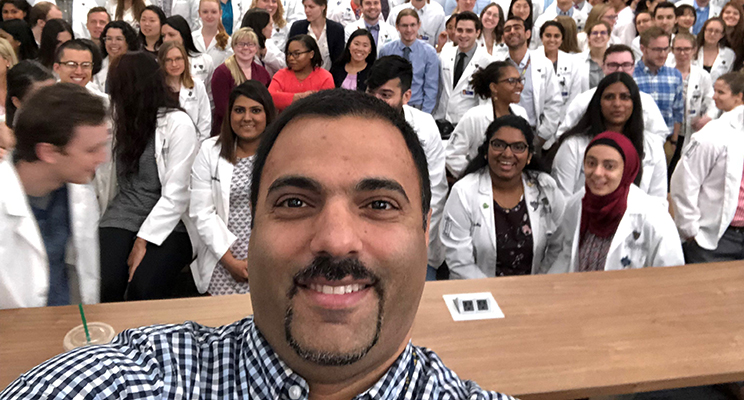 Dr. Mohamad Moussa '01, '04 (foreground) with students in the UToledo Emergency Medicine Residency Program.